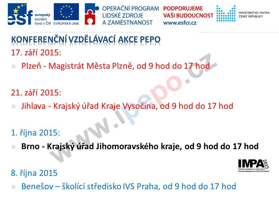 17. září 2015:  Plzeň - Magistrát Města Plzně, od 9 hod do 17 hod 21.