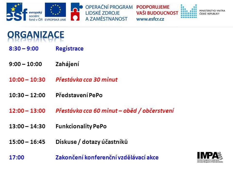8:30 – 9:00 Registrace 9:00 – 10:00 Zahájení 10:00 – 10:30Přestávka cca 30 minut 10:30 – 12:00 Představení PePo 12:00 – 13:00 Přestávka cca 60 minut – oběd / občerstvení 13:00 – 14:30 Funkcionality PePo 15:00 – 16:45 Diskuse / dotazy účastníků 17:00 Zakončení konferenční vzdělávací akce