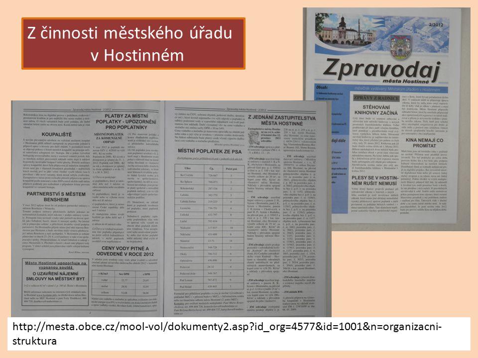 Z činnosti městského úřadu v Hostinném http://mesta.obce.cz/mool-vol/dokumenty2.asp id_org=4577&id=1001&n=organizacni- struktura