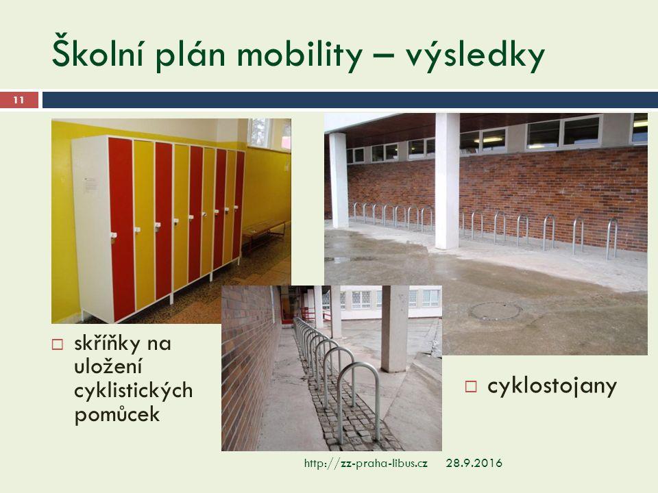 Školní plán mobility – výsledky 28.9.2016http://zz-praha-libus.cz 11  skříňky na uložení cyklistických pomůcek  cyklostojany