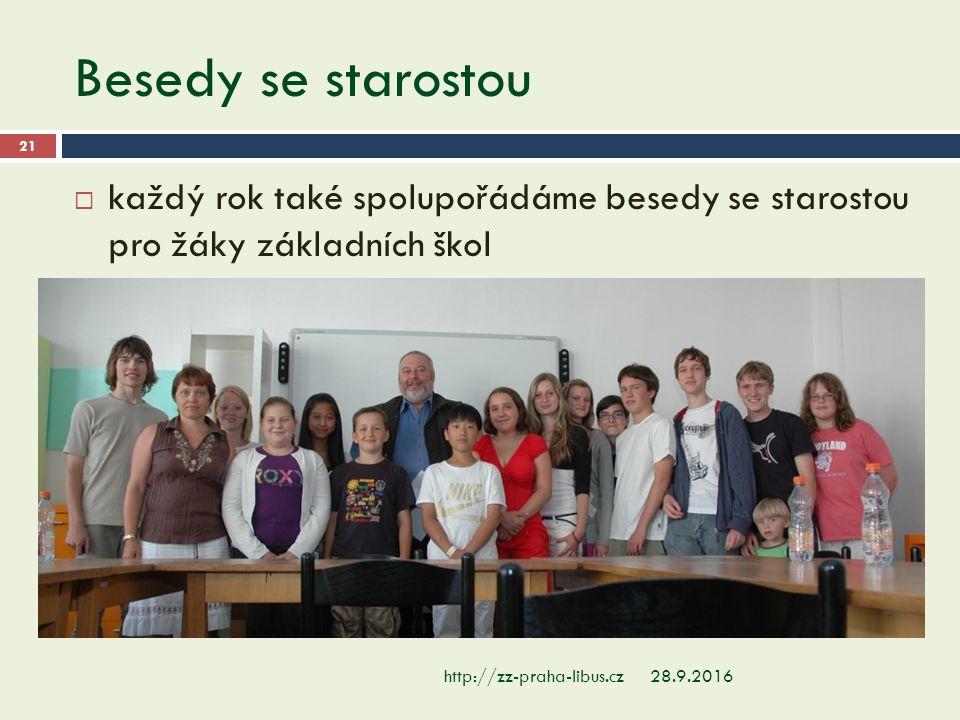 Besedy se starostou 28.9.2016http://zz-praha-libus.cz 21  každý rok také spolupořádáme besedy se starostou pro žáky základních škol