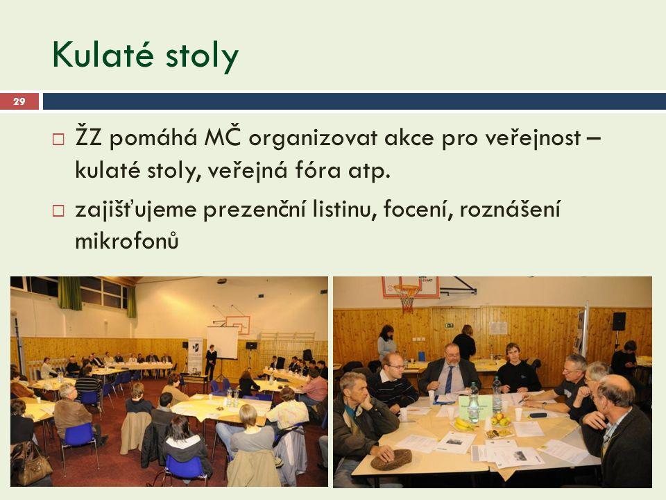 Kulaté stoly 29  ŽZ pomáhá MČ organizovat akce pro veřejnost – kulaté stoly, veřejná fóra atp.
