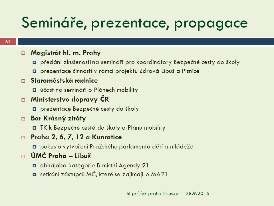 Semináře, prezentace, propagace 28.9.2016http://zz-praha-libus.cz 31  Magistrát hl.