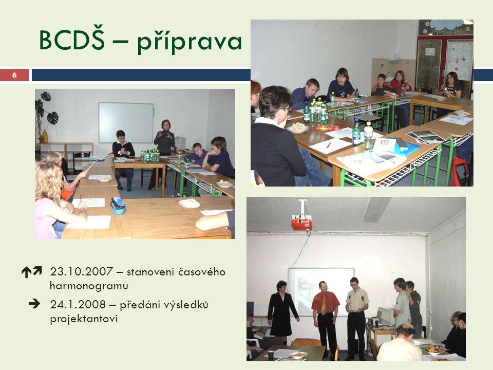 BCDŠ – příprava 28.9.2016 6  23.10.2007 – stanovení časového harmonogramu  24.1.2008 – předání výsledků projektantovi