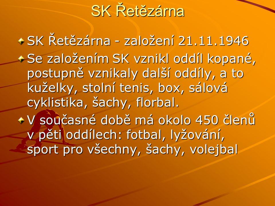SK Řetězárna SK Řetězárna - založení 21.11.1946 Se založením SK vznikl oddíl kopané, postupně vznikaly další oddíly, a to kuželky, stolní tenis, box, sálová cyklistika, šachy, florbal.