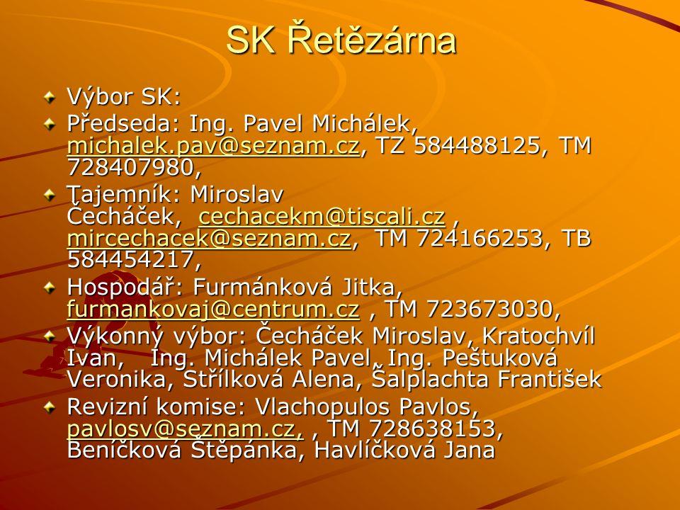 SK Řetězárna Výbor SK: Předseda: Ing. Pavel Michálek, michalek.pav@seznam.cz, TZ 584488125, TM 728407980, michalek.pav@seznam.cz Tajemník: Miroslav Če