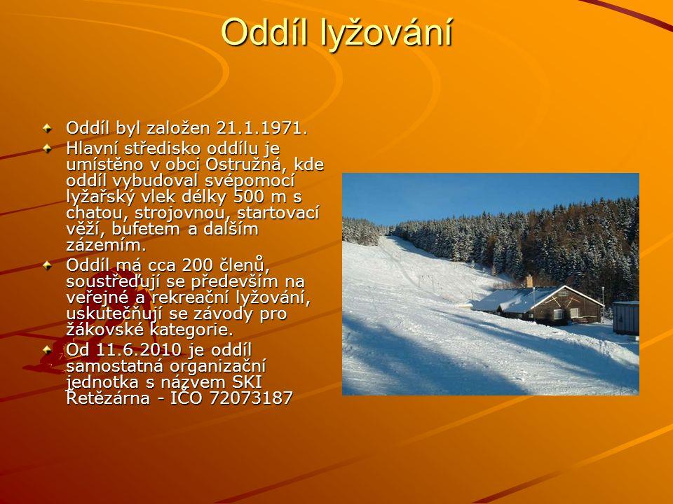 Oddíl lyžování Oddíl byl založen 21.1.1971. Hlavní středisko oddílu je umístěno v obci Ostružná, kde oddíl vybudoval svépomocí lyžařský vlek délky 500