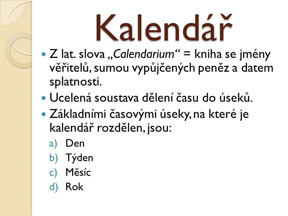 Kalendář Z lat.
