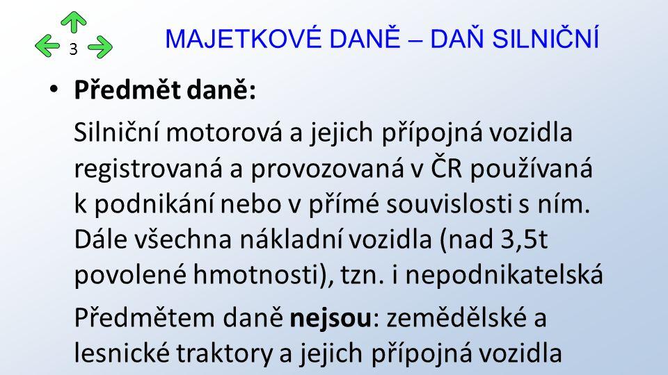 Předmět daně: Silniční motorová a jejich přípojná vozidla registrovaná a provozovaná v ČR používaná k podnikání nebo v přímé souvislosti s ním.