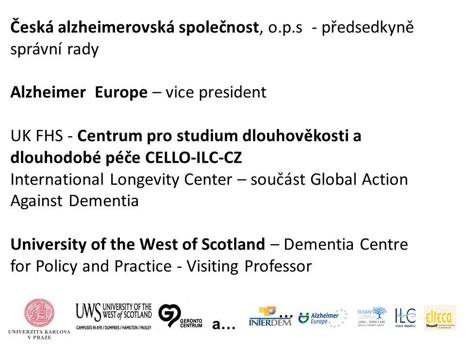 … a… Česká alzheimerovská společnost, o.p.s - předsedkyně správní rady Alzheimer Europe – vice president UK FHS - Centrum pro studium dlouhověkosti a