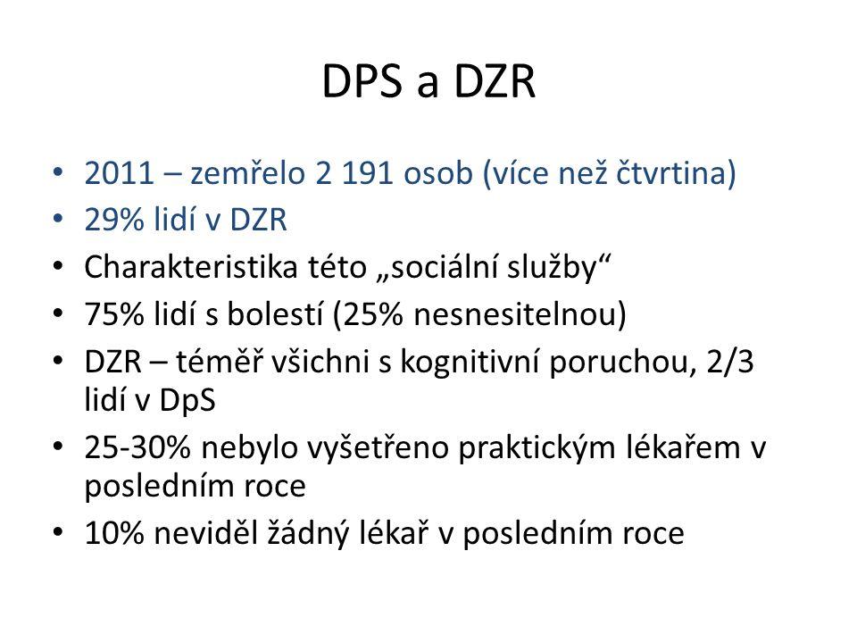 """DPS a DZR 2011 – zemřelo 2 191 osob (více než čtvrtina) 29% lidí v DZR Charakteristika této """"sociální služby"""" 75% lidí s bolestí (25% nesnesitelnou) D"""