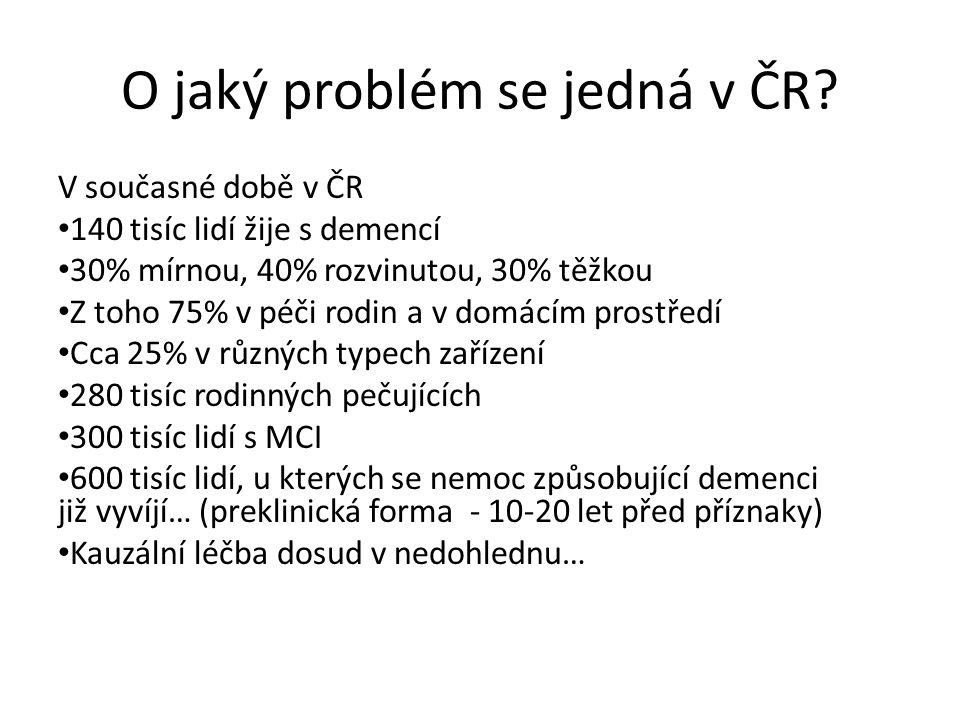 O jaký problém se jedná v ČR? V současné době v ČR 140 tisíc lidí žije s demencí 30% mírnou, 40% rozvinutou, 30% těžkou Z toho 75% v péči rodin a v do