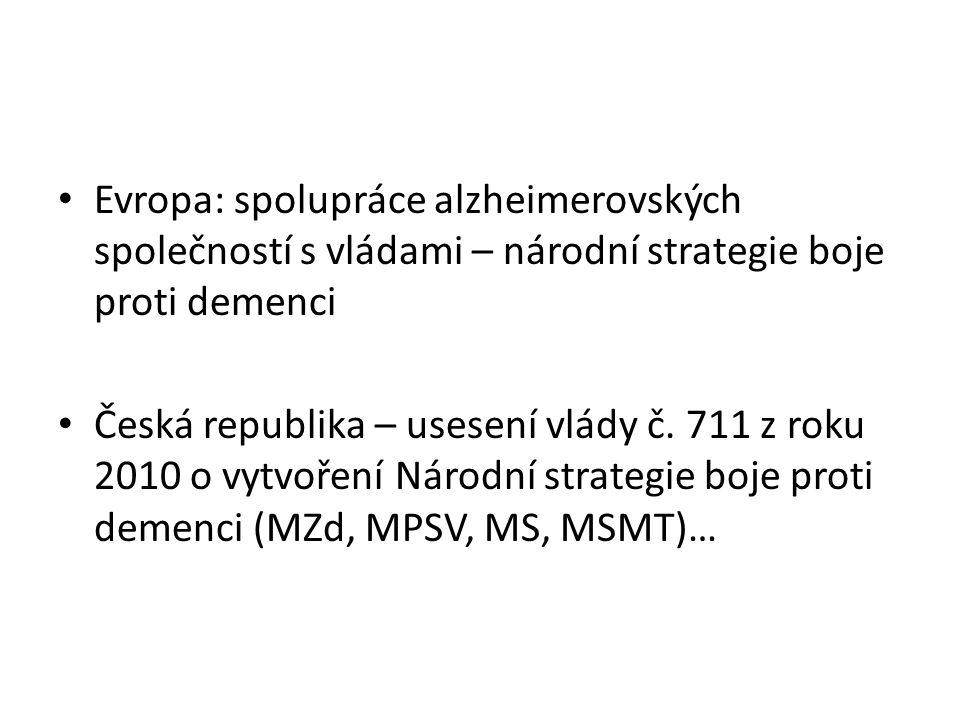 Evropa: spolupráce alzheimerovských společností s vládami – národní strategie boje proti demenci Česká republika – usesení vlády č. 711 z roku 2010 o