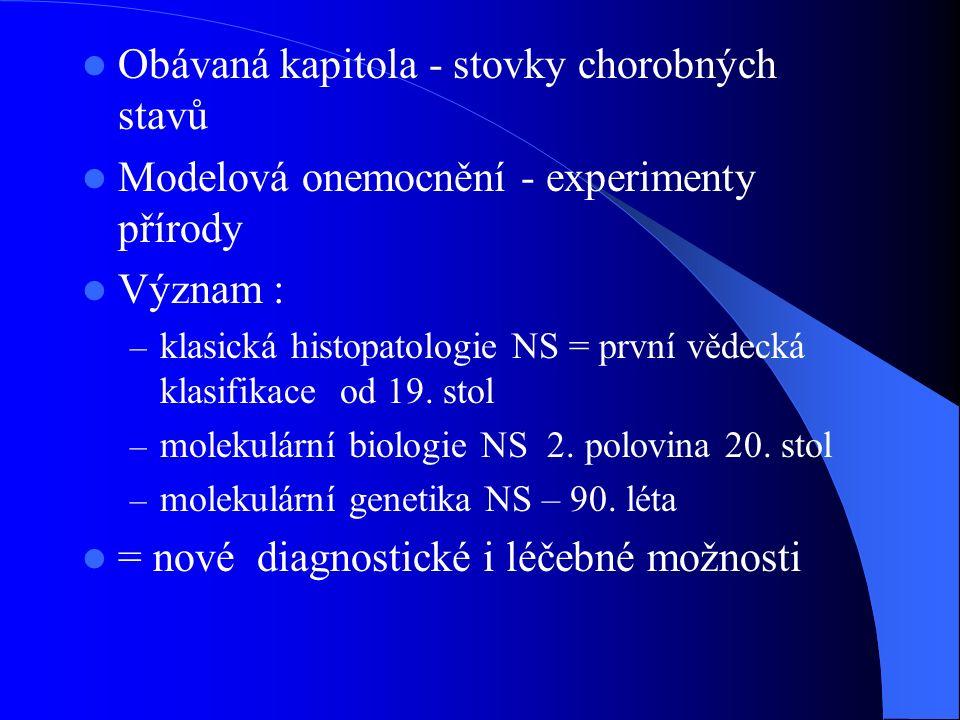 Obávaná kapitola - stovky chorobných stavů Modelová onemocnění - experimenty přírody Význam : – klasická histopatologie NS = první vědecká klasifikace
