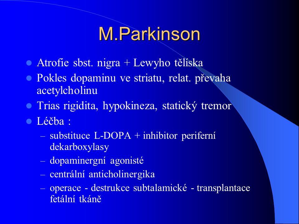 M.Parkinson Atrofie sbst. nigra + Lewyho tělíska Pokles dopaminu ve striatu, relat. převaha acetylcholinu Trias rigidita, hypokineza, statický tremor
