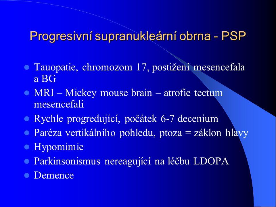 Progresivní supranukleární obrna - PSP Tauopatie, chromozom 17, postižení mesencefala a BG MRI – Mickey mouse brain – atrofie tectum mesencefali Rychl