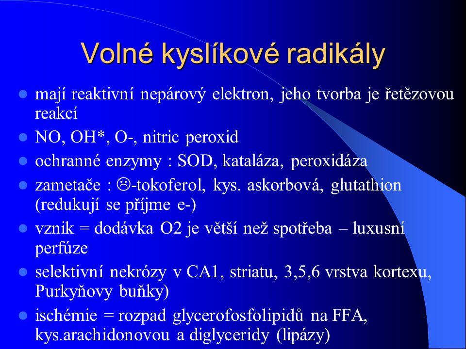 Volné kyslíkové radikály mají reaktivní nepárový elektron, jeho tvorba je řetězovou reakcí NO, OH*, O-, nitric peroxid ochranné enzymy : SOD, kataláza