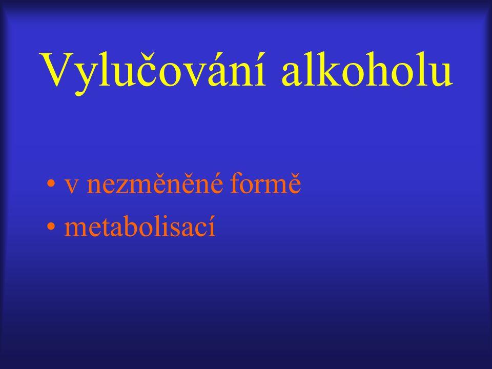 Vylučování alkoholu v nezměněné formě metabolisací