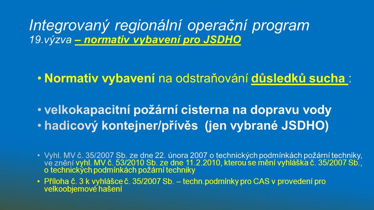 Integrovaný regionální operační program 19.výzva – normativ vybavení pro JSDHO