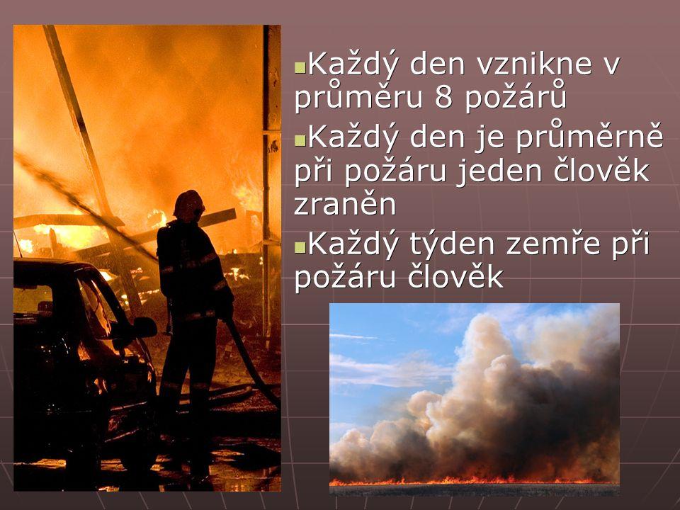 Každý den vznikne v průměru 8 požárů Každý den vznikne v průměru 8 požárů Každý den je průměrně při požáru jeden člověk zraněn Každý den je průměrně při požáru jeden člověk zraněn Každý týden zemře při požáru člověk Každý týden zemře při požáru člověk