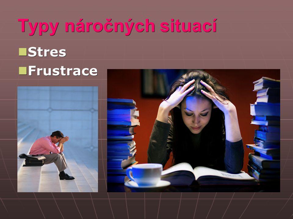 Stres Stres je vnitřní stav jedince, Stres je vnitřní stav jedince, který je buď přímo něčím ohrožován, anebo takové ohrožení očekává který je buď přímo něčím ohrožován, anebo takové ohrožení očekává Stresovým činitelem – stresorem – je pro každého z nás něco jiného Stresovým činitelem – stresorem – je pro každého z nás něco jiného Mírný stres - může zvýšit výkon, Mírný stres - může zvýšit výkon, mobilizovat síly k dosažení náročného cíle mobilizovat síly k dosažení náročného cíle Velký stres – vede k poklesu výkonu, chybám a selhání Velký stres – vede k poklesu výkonu, chybám a selhání