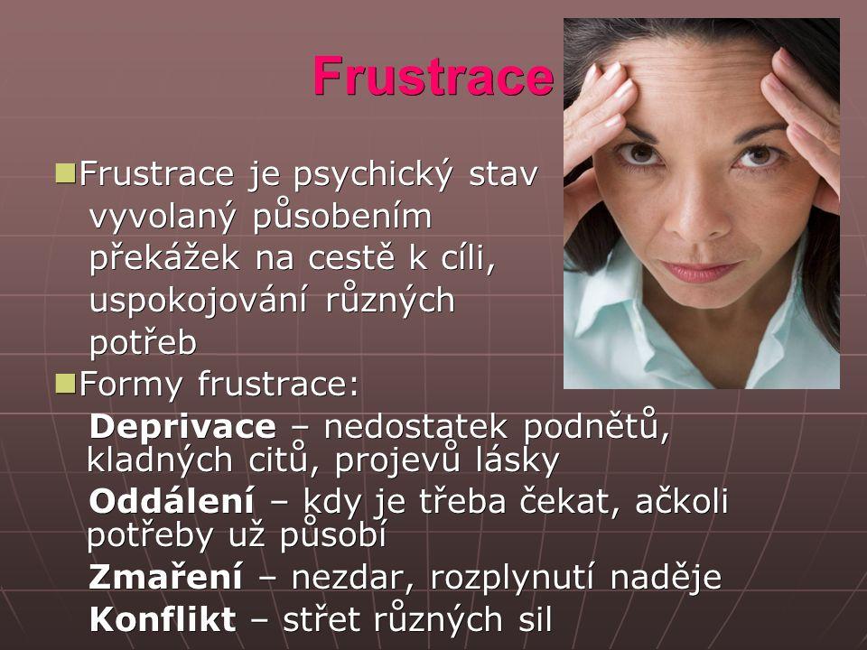 Frustrace Frustrace je psychický stav Frustrace je psychický stav vyvolaný působením vyvolaný působením překážek na cestě k cíli, překážek na cestě k cíli, uspokojování různých uspokojování různých potřeb potřeb Formy frustrace: Formy frustrace: Deprivace – nedostatek podnětů, kladných citů, projevů lásky Deprivace – nedostatek podnětů, kladných citů, projevů lásky Oddálení – kdy je třeba čekat, ačkoli potřeby už působí Oddálení – kdy je třeba čekat, ačkoli potřeby už působí Zmaření – nezdar, rozplynutí naděje Zmaření – nezdar, rozplynutí naděje Konflikt – střet různých sil Konflikt – střet různých sil