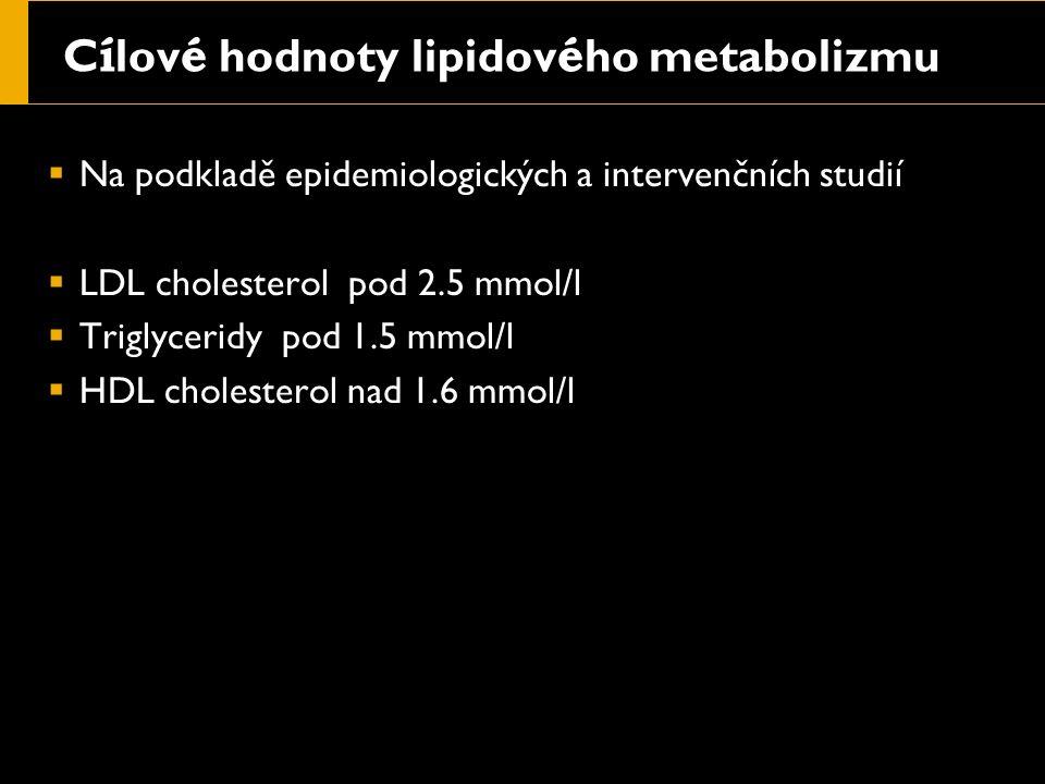 C í lov é hodnoty lipidov é ho metabolizmu  Na podkladě epidemiologických a intervenčních studií  LDL cholesterol pod 2.5 mmol/l  Triglyceridy pod 1.5 mmol/l  HDL cholesterol nad 1.6 mmol/l