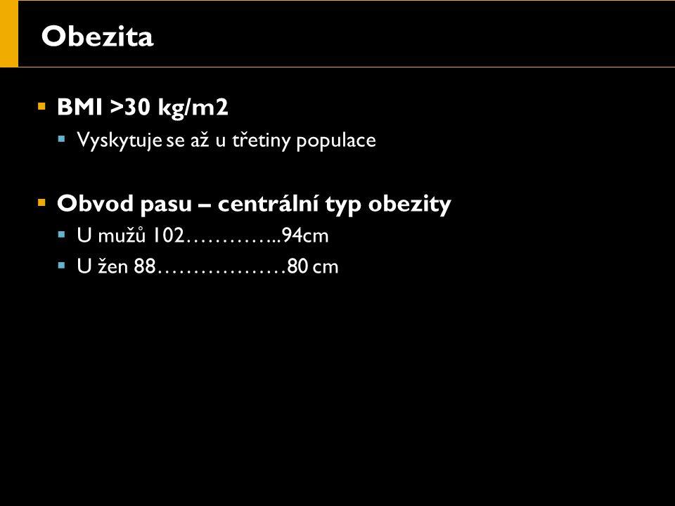 Obezita  BMI >30 kg/m2  Vyskytuje se až u třetiny populace  Obvod pasu – centrální typ obezity  U mužů 102…………..94cm  U žen 88………………80 cm