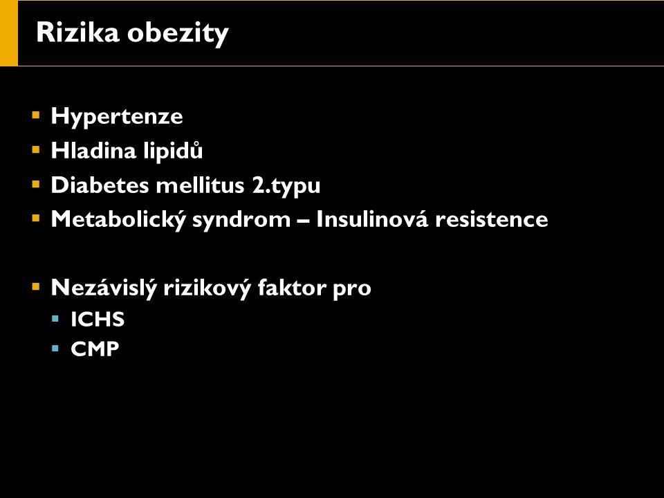 Rizika obezity  Hypertenze  Hladina lipidů  Diabetes mellitus 2.typu  Metabolický syndrom – Insulinová resistence  Nezávislý rizikový faktor pro  ICHS  CMP