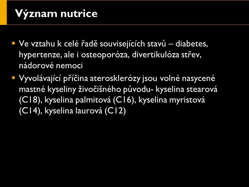 Význam nutrice  Ve vztahu k celé řadě souvisejících stavů – diabetes, hypertenze, ale i osteoporóza, divertikulóza střev, nádorové nemoci  Vyvolávající příčina aterosklerózy jsou volné nasycené mastné kyseliny živočišného původu- kyselina stearová (C18), kyselina palmitová (C16), kyselina myristová (C14), kyselina laurová (C12)