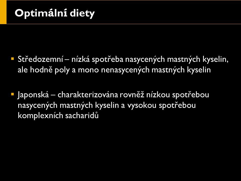 Optim á ln í diety  Středozemní – nízká spotřeba nasycených mastných kyselin, ale hodně poly a mono nenasycených mastných kyselin  Japonská – charakterizována rovněž nízkou spotřebou nasycených mastných kyselin a vysokou spotřebou komplexních sacharidů