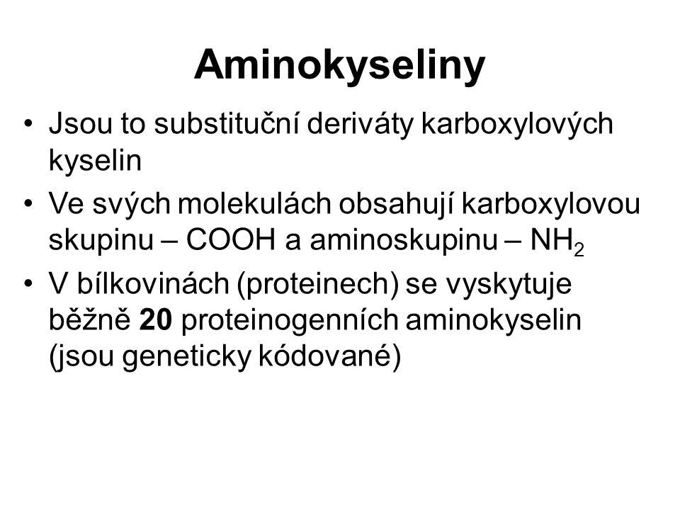 Aminokyseliny Jsou to substituční deriváty karboxylových kyselin Ve svých molekulách obsahují karboxylovou skupinu – COOH a aminoskupinu – NH 2 V bílk