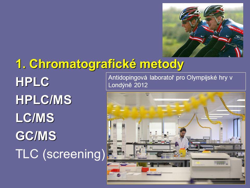 20 1. Chromatografické metody HPLCHPLC/MSLC/MSGC/MS TLC (screening) Antidopingová laboratoř pro Olympijské hry v Londýně 2012