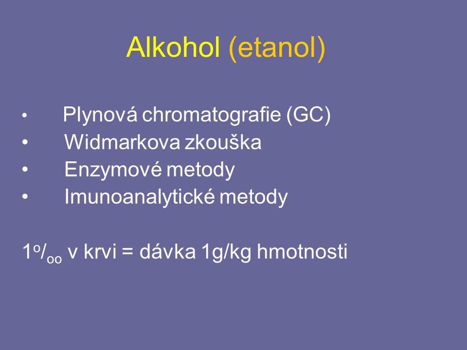 Alkohol (etanol) Plynová chromatografie (GC) Widmarkova zkouška Enzymové metody Imunoanalytické metody 1 o / oo v krvi = dávka 1g/kg hmotnosti
