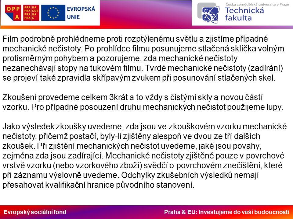 Evropský sociální fond Praha & EU: Investujeme do vaší budoucnosti Film podrobně prohlédneme proti rozptýlenému světlu a zjistíme případné mechanické