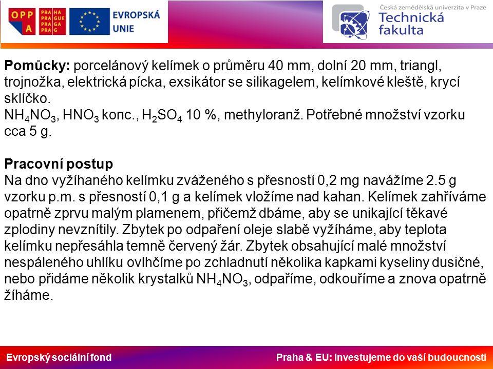 Evropský sociální fond Praha & EU: Investujeme do vaší budoucnosti Pomůcky: porcelánový kelímek o průměru 40 mm, dolní 20 mm, triangl, trojnožka, elek