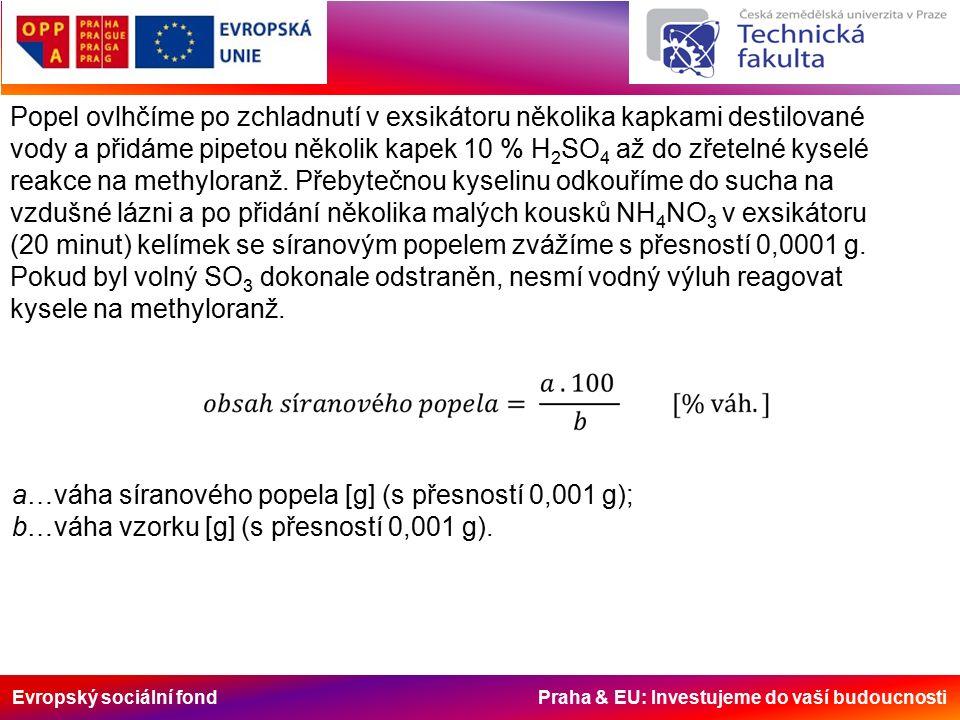 Evropský sociální fond Praha & EU: Investujeme do vaší budoucnosti Popel ovlhčíme po zchladnutí v exsikátoru několika kapkami destilované vody a přidá