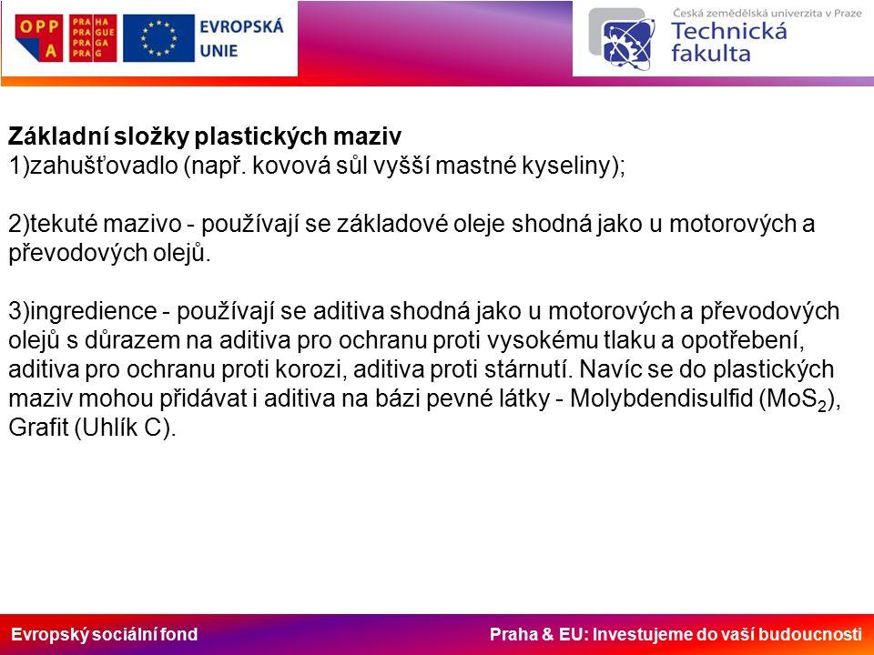 Evropský sociální fond Praha & EU: Investujeme do vaší budoucnosti Zpevňovadla -zpevňovadlo je chemická přísada, která vytvoří houbovitou strukturu, ve které je olej uložen a v průběhu mazání je uvolňován mezi mazané plochy; -přidáním zpevňovadla do oleje přestane být olej kapalný a změní se v mast; -jako zpevňovadla jsou používány především soli lehkých kovů: lithium, sodík, vápník, méně častěji soli hliníku, baria, olova; -jako zpevňovadla jsou někdy používány i směsi solí (lithium / vápník); -rovněž existují zpevňovadla na odlišné bázi než jsou soli kovů - gely, bentonity, polyuretany.