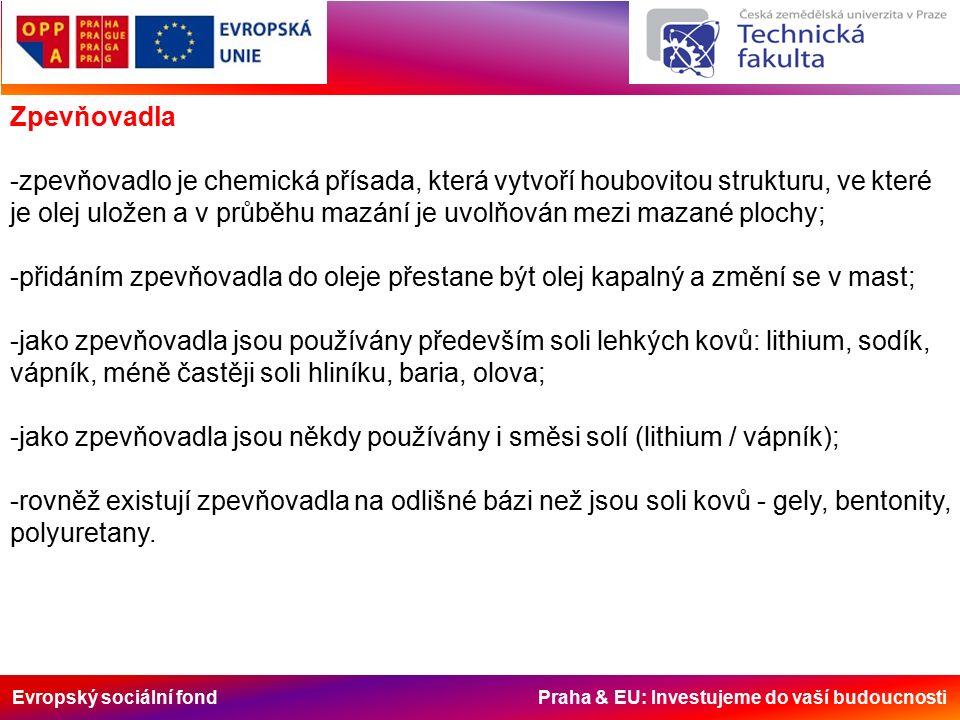 Evropský sociální fond Praha & EU: Investujeme do vaší budoucnosti Plastická maziva na bázi solí Lithia (Li) Nejčastěji používaný druh plastických maziv.