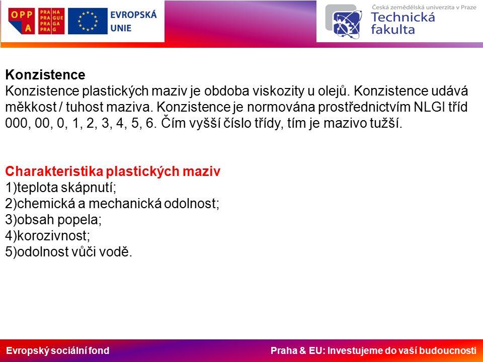 Evropský sociální fond Praha & EU: Investujeme do vaší budoucnosti Konzistence Konzistence plastických maziv je obdoba viskozity u olejů. Konzistence