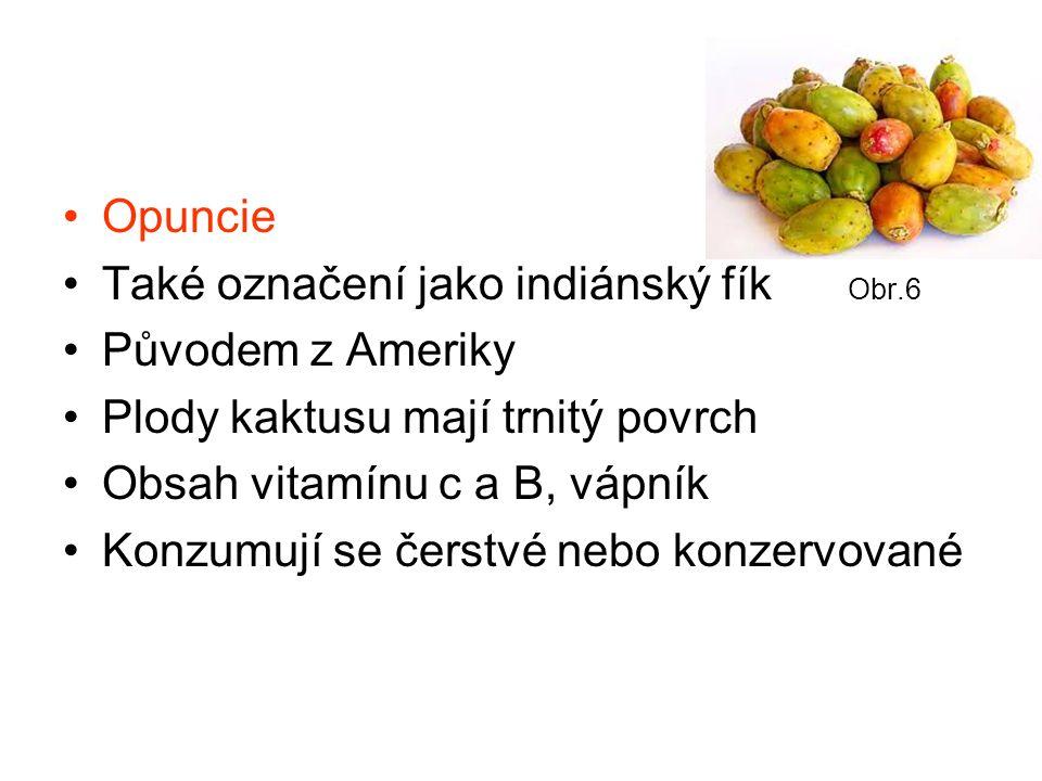 Opuncie Také označení jako indiánský fík Obr.6 Původem z Ameriky Plody kaktusu mají trnitý povrch Obsah vitamínu c a B, vápník Konzumují se čerstvé nebo konzervované