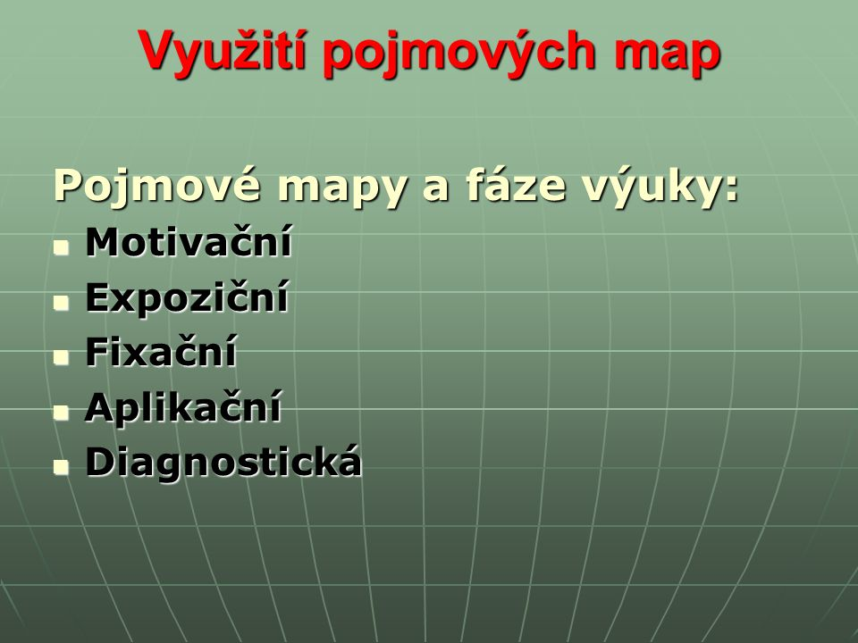 Využití pojmových map Pojmové mapy a fáze výuky: Motivační Motivační Expoziční Expoziční Fixační Fixační Aplikační Aplikační Diagnostická Diagnostická