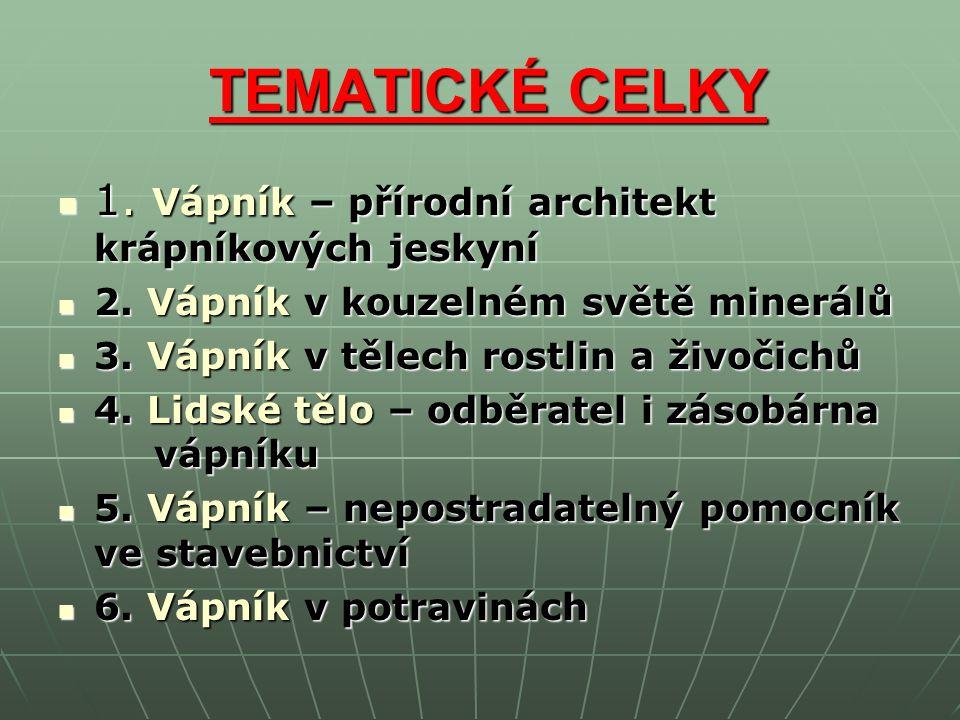 TEMATICKÉ CELKY TEMATICKÉ CELKY 1. Vápník – přírodní architekt krápníkových jeskyní 1.