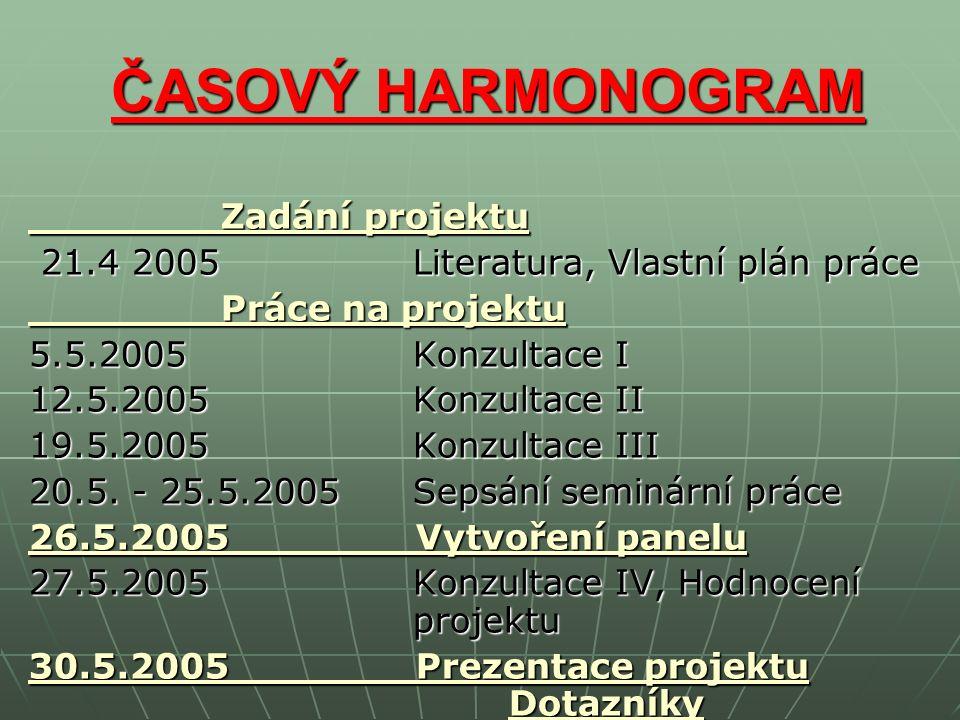 ČASOVÝ HARMONOGRAM ČASOVÝ HARMONOGRAM Zadání projektu Zadání projektu 21.4 2005 Literatura, Vlastní plán práce 21.4 2005 Literatura, Vlastní plán práce Práce na projektu Práce na projektu 5.5.2005 Konzultace I 12.5.2005 Konzultace II 19.5.2005 Konzultace III 20.5.