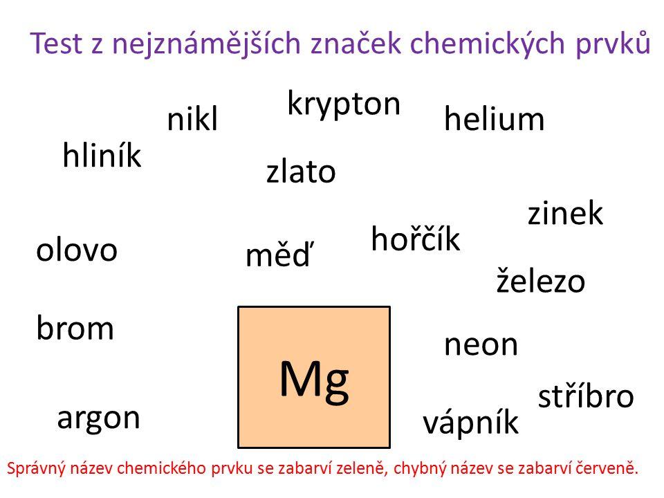 Test z nejznámějších značek chemických prvků Mg hliník železo helium brom zlato stříbro nikl zinek olovo měď argon neon krypton hořčík vápník Správný