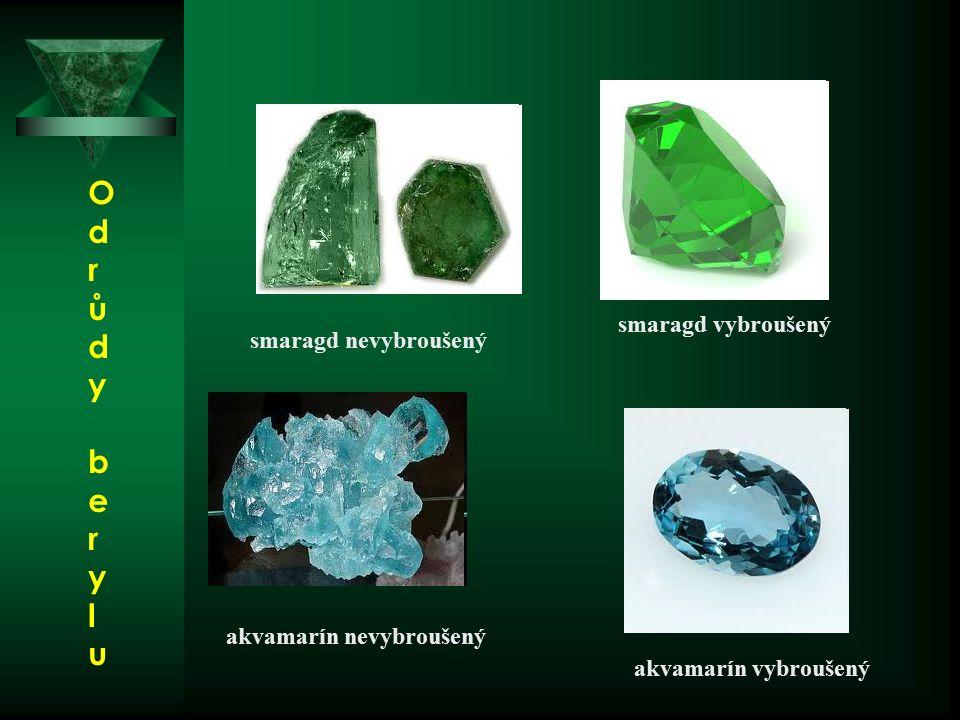 smaragd vybroušený smaragd nevybroušený akvamarín nevybroušený akvamarín vybroušený OdrůdyberyluOdrůdyberylu