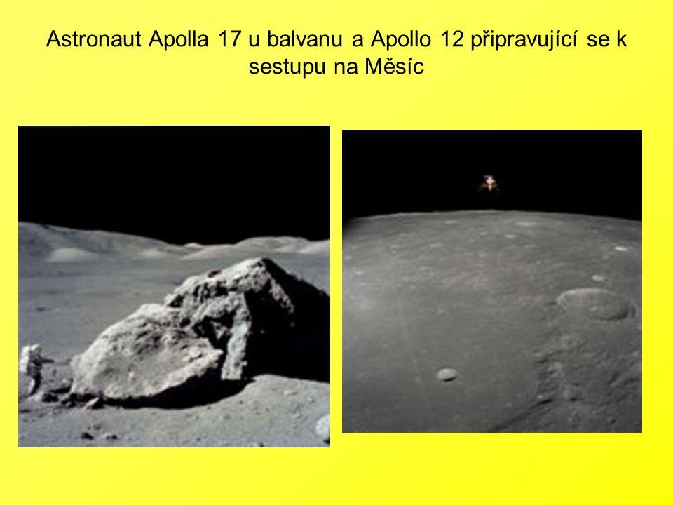 Astronaut Apolla 17 u balvanu a Apollo 12 připravující se k sestupu na Měsíc