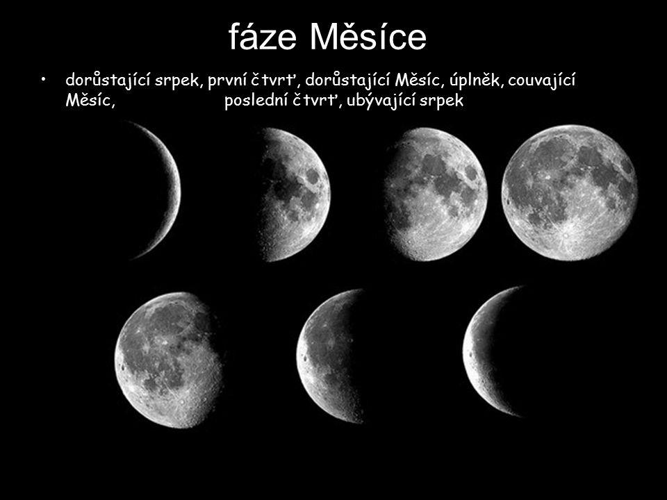 fáze Měsíce dorůstající srpek, první čtvrť, dorůstající Měsíc, úplněk, couvající Měsíc, poslední čtvrť, ubývající srpek