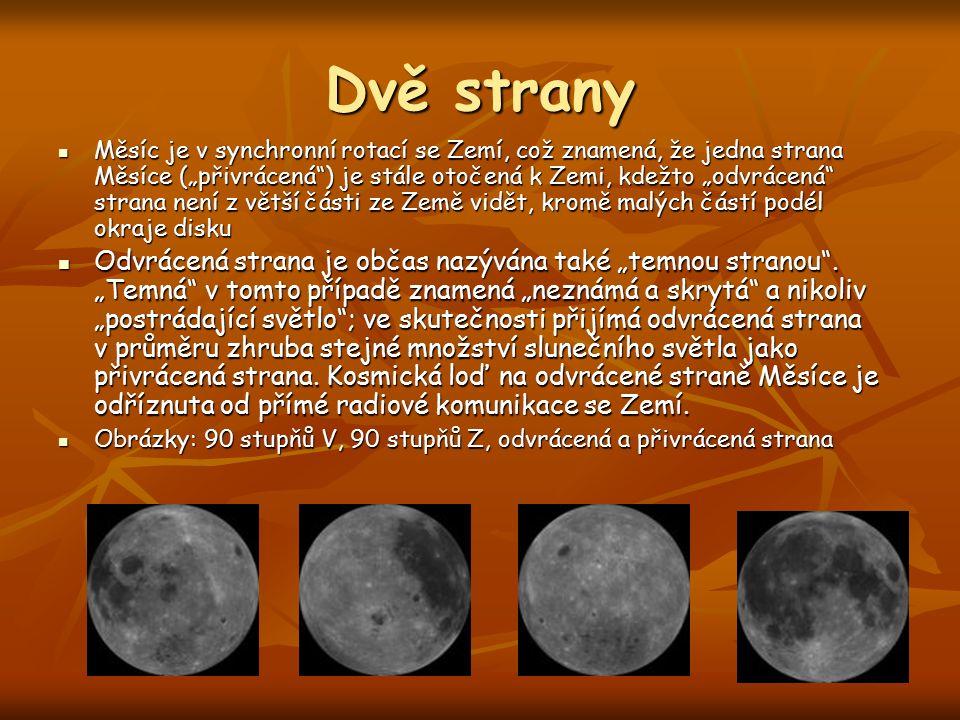 """Dvě strany Měsíc je v synchronní rotací se Zemí, což znamená, že jedna strana Měsíce (""""přivrácená ) je stále otočená k Zemi, kdežto """"odvrácená strana není z větší části ze Země vidět, kromě malých částí podél okraje disku Měsíc je v synchronní rotací se Zemí, což znamená, že jedna strana Měsíce (""""přivrácená ) je stále otočená k Zemi, kdežto """"odvrácená strana není z větší části ze Země vidět, kromě malých částí podél okraje disku Odvrácená strana je občas nazývána také """"temnou stranou ."""