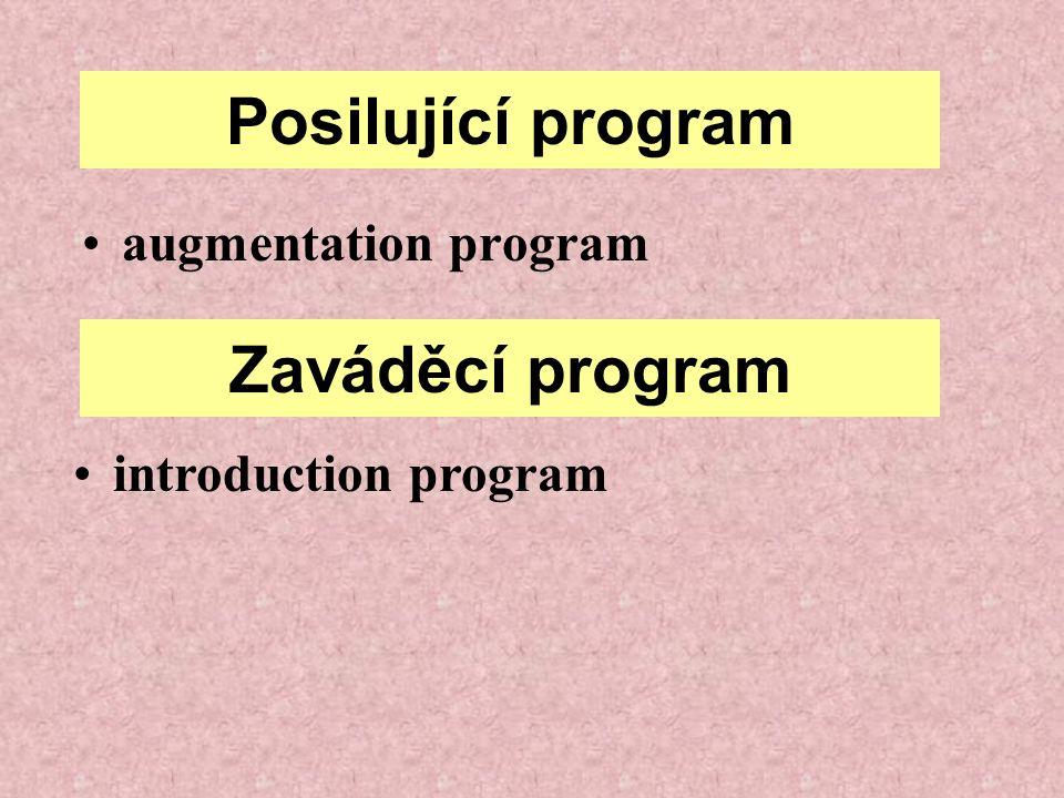 Posilující program augmentation program Zaváděcí program introduction program